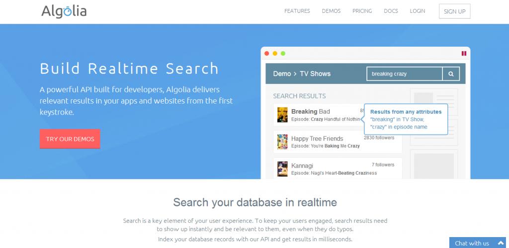 Algolia screenshot
