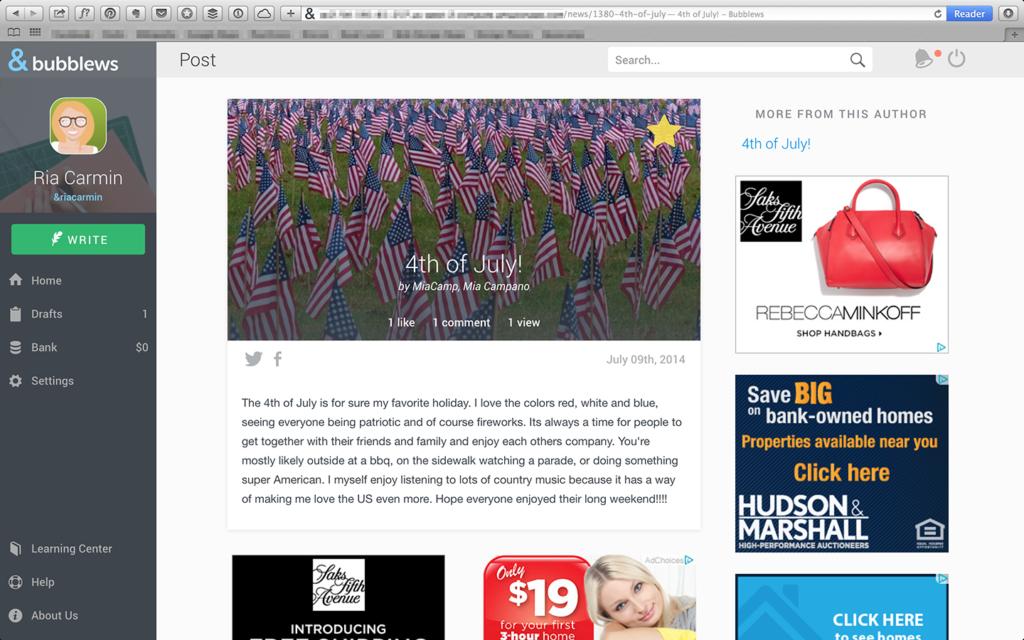 Bubblews Screenshot- Example post 1
