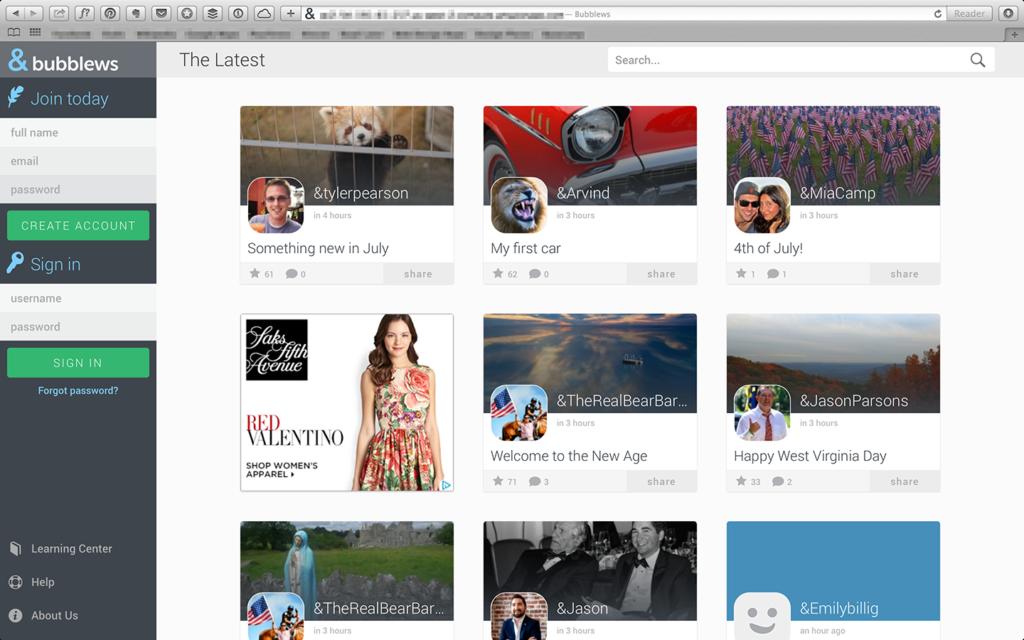 Bubblews Screenshot- Homepage 2