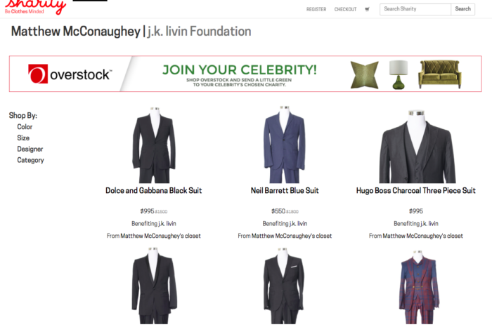 Just-launched Sharity.org puts items from celebrity closets up for sale, all in the name of charity