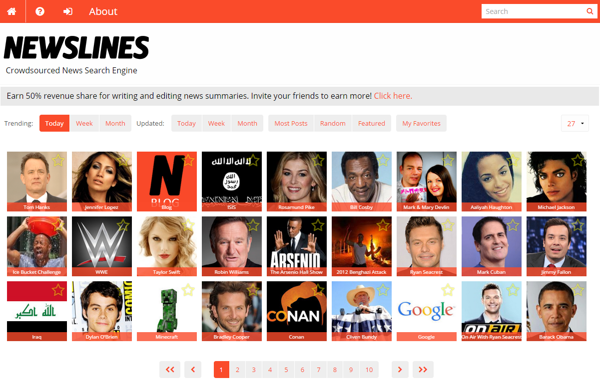 Newslines Front Page Grid
