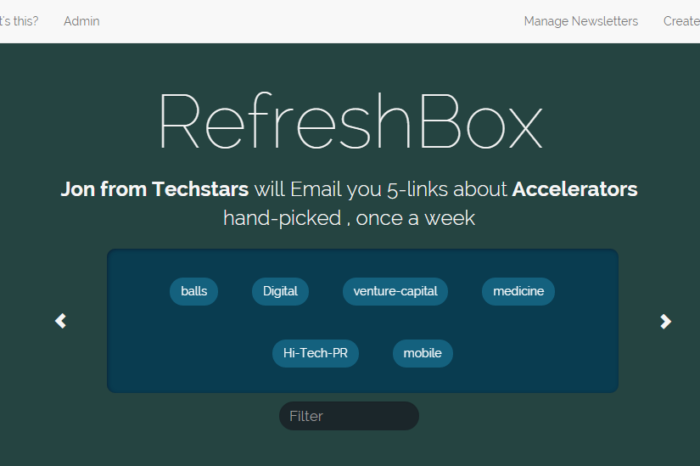 Lightning Pitch: RefreshBox – Create and get subscribers to a weekly five-link collection newsletter