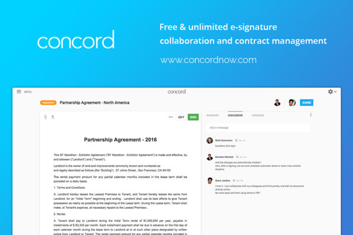 Featured Startup Pitch: Concord – E-signature and contract management for businesses of all types and sizes