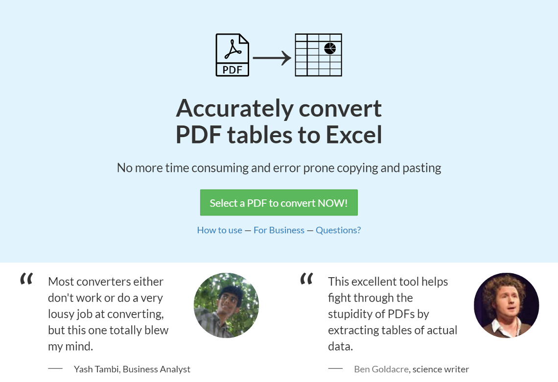 Lightning Pitch: PDF Tables - Effortlessly convert PDF tables into Excel spreadsheets