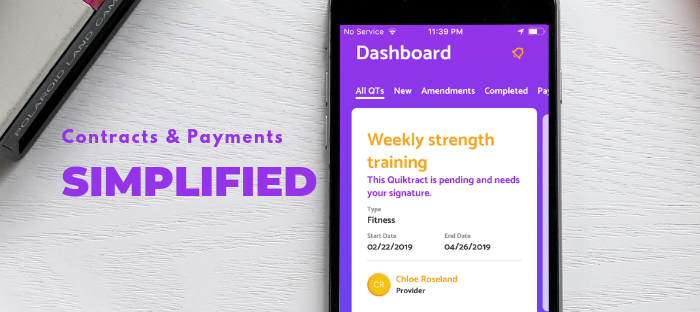 First Contract & Payment App Targeting  Cash, Check and Verbal Agreements Released by Quiktract